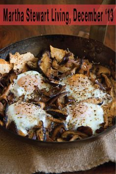 Sauteed Mushrooms with Toasted Flatbread and Baked Eggs