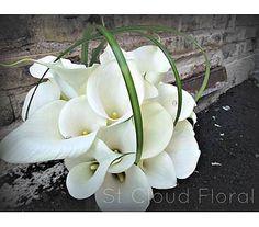 A classic bridal bouquet of all calla lilies.
