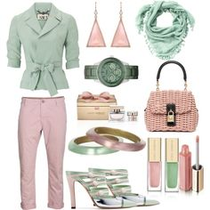 Verd clar i rosa pal, created by nuria-pellisa-salvado on Polyvore