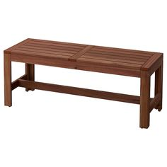 ÄPPLARÖ Bench with wall panel, outdoor, brown stained brown - IKEA Outdoor Dining Furniture, Outdoor Dining Set, Outdoor Wooden Benches, Wooden Furniture, Ikea Outdoor, Outdoor Entertaining, Outdoor Chairs, Banco Exterior, Table And Chairs