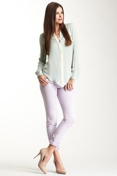 Lavender pants, white chiffon button up, nude heels