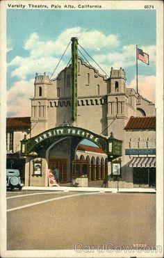 Varsity Theatre Palo Alto, CA, 1940.  vintage postcard