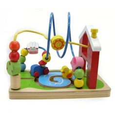 Brightly coloured farm roller coaster to assist with fine motor skills and colour recognition.