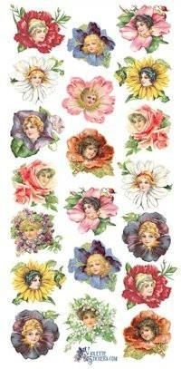 Flower Petal Ladies Victorian Stickers
