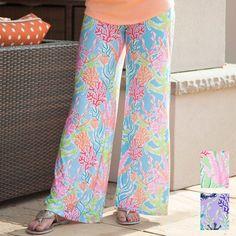 Ladies Custom Print Coral Palazzo Panel Pant