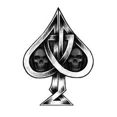 Celtic knot black spade with black skulls inside. Ace Of Spades Tattoo, Cool Tattoos, Tatoos, Spade Tattoo, Vegas Tattoo, Black Spades, Dibujos Tattoo, Card Tattoo, Dice Tattoo