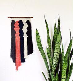 Hand Woven Wall Hanging / Tapestry / Weaving // The Traveler - Grey, Salmon, Navy, Cream, Black
