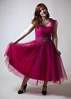 1950s True Vintage Fuchsia Pink Chiffon Prom Dress with Chiffon Shawl