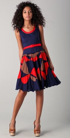 LOVE the colors and patterns in this dress and the wedges! I want it!