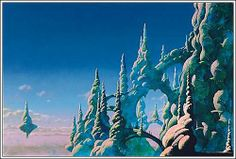 """Roger Dean is one of my favorite artists. I believe this is titled """"The Ladder"""", or at least that is the album by Yes that this work is featured on. I want to live here."""