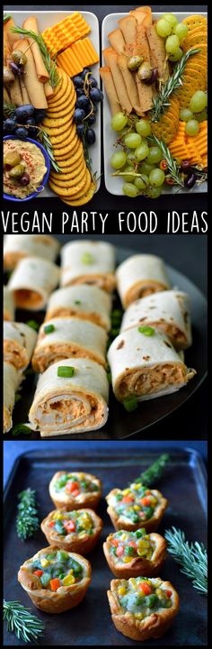 Vegan Party Food Ideas for Holidays, Potlucks, Appetizers, Finger Foods - Dairy Free, Egg Free, Easy, Fast, Quick, Simple - Vegan Wraps, Vegan Meat and Cheese Tray, Vegan Mini Pot Pies - Rich Bitch Cooking Blog