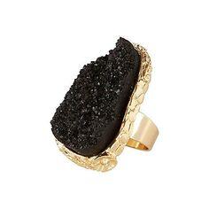 Handmade Individual crystal black ring stone ring Cocktail ring vintage