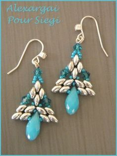 Beaded earrings - looks like pine trees, this could be done in different colors, top embellished-put a star on top
