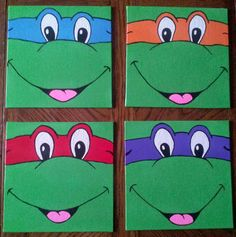 Ninja Turtle Cartoon Inspired Painted Canvas by FromTeraWithLove