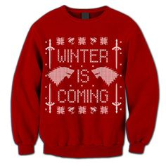 Winter Is Coming. Game of Thrones Fan Sweatshirt. Sweater. Jumper. Pulower. Wolf. Sword. Winterfell. Ugly Sweater. Party. Contest.