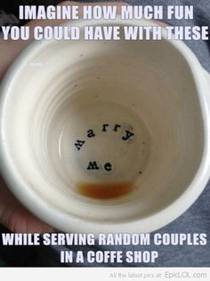 Letters at the bottom of her soup bowl!