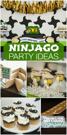 amazing green, gold and white Ninjago party has paper lanterns and fortune cookies, plus a decorated cake and cupcakes. See more party ideas at ! Karate Birthday, Ninja Birthday Parties, Birthday Ideas, Kid Parties, 8th Birthday, Lego Ninjago Cake, Ninjago Party, Lego Cake, Fun Cupcakes