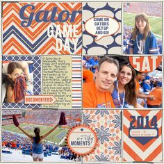 Gator Game Day Project Life digital page by Juli Fish, 365 Unscripted Stitched… Scrapbooking 101, Love Scrapbook, How To Make Scrapbook, Pocket Scrapbooking, Scrapbook Cards, Pats Games, Gator Game, Life Sketch, Project Life Layouts