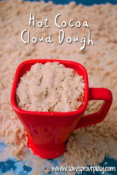 Hot Cocoa Cloud Dough. A soft, edible and moldable dough scented with yummy hot chocolate!