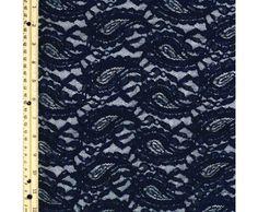 Navy Pasley Chenille Lace Fabric-MASALA - Lace Fabrics