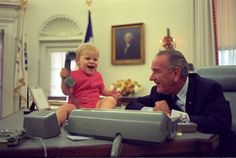 President Lyndon B. Johnson and his grandson. #NewNormal