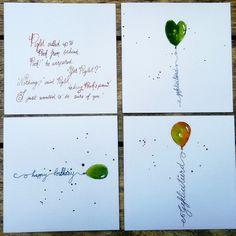Gefeliciteerd Happy Birthday ballon Pooh Piglet  letters lettering kalligrafie