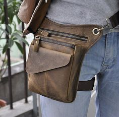 """Men Genuine Leather Riding Hiking Motorcycle 8"""" Fanny Waist Pack Drop Leg Bags in Clothing, Shoes & Accessories, Men's Accessories, Backpacks, Bags & Briefcases 
