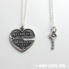 Unlock My Heart Silver Couple's Necklace - Heart and Key Couples Necklace  (R2E4) on Etsy, $35.00