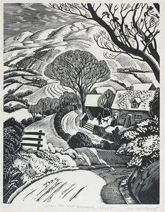 "Iain Macnab (1890-1967) ""Snow on the Radnor Hills"" wood engraving"