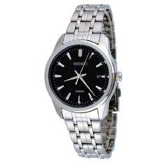 Seiko Casual Black Dial Stainless Steel Mens Watch SGEG05 $160.00