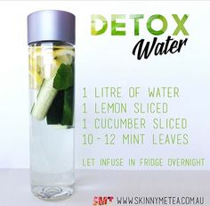 The ultimate secret remedy for and glowing skin - natural detox water made of lemon, cucumber and mint leaves. Detox Drinks, Healthy Drinks, Healthy Tips, Healthy Water, Healthy Detox, Stay Healthy, Healthy Weight, Healthy Snacks, Healthy Recipes