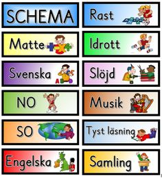 Schemabilder i färg  - Dagar, datum, månader, väder och schema. Classroom Activities, Classroom Organization, Classroom Decor, Classroom Management, Learn Swedish, Swedish Language, Language And Literature, Adhd And Autism, Free Teaching Resources