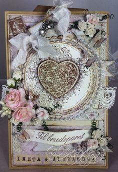 Wedding Card - Audhild Ljones - Stempelglede :: Design Team Blog Vintage Cards, Flourish, Wedding Cards, Decorative Boxes, Projects, Grunge, Blog, Hearts, Scrapbooking