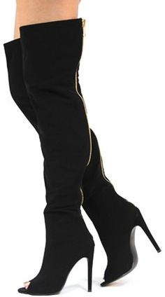 LIBBY1 BLACK PEEP TOE OVER THE KNEE BOOT ONLY $25.88
