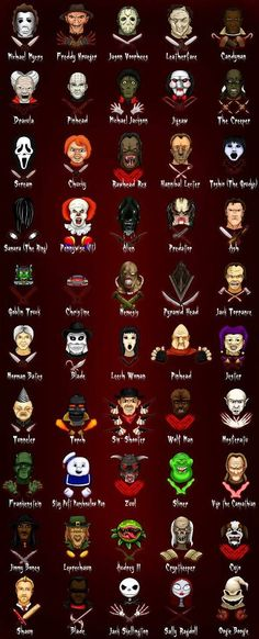 A list of horror movie villains. And some of these are not technically horror movies. Tattoo Film, Horror Icons, Horror Cartoon, Funny Horror, Poster S, Iconic Movies, Classic Scary Movies, Michael Myers, Scream
