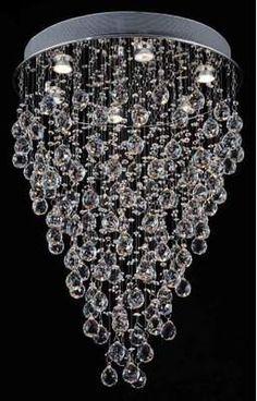 Modern Chandelier Rain Drop Lighting Crystal Ball round Fixture Pendant Ceiling Lamp X 3 Lights Modern - Faceted Crystal, Crystal Ball, Contemporary Chandelier, Modern Contemporary, Gallery Lighting, Compact Fluorescent Bulbs, Drop Lights, Chandelier Lighting, Crystal Chandeliers