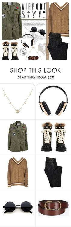 """""""Wanderlust Wonderful: Airport Style"""" by nvoyce ❤ liked on Polyvore featuring Gucci, Pryma, Velvet by Graham & Spencer, N°21, Dsquared2, Uniqlo and airportstyle"""