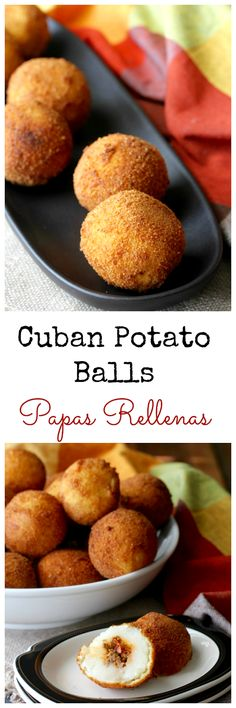 Papas Rellenas (Cuban Potato Balls) Cuban Papas Rellenas are mashed potatoes stuffed with seasoned meat, rolled into a ball, breaded, and then deep fried, resulting in these little packages of pop-able deliciousness. Mexican Food Recipes, Beef Recipes, Snack Recipes, Cooking Recipes, Appetizer Recipes, Ethnic Recipes, Cuban Dishes, Food Dishes, Cuban Cuisine