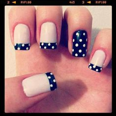 Who doesn't like Polka Dots? Properly assuming that you simply love polka dot nail designs, right here's a bouquet of polka dot nails that may encourage you and allow you to get one. French Manicure Nails, French Manicure Designs, Manicure Colors, Nail Colors, Manicure Ideas, French Pedicure, Manicure Types, French Manicure With A Twist, Colours