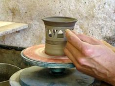 Ingleton Pottery Making and carving a small clay pottery pierced candle holder. Just a simple little pot with some piercing or carving of holes to let the li. Slab Pottery, Pottery Vase, Throwing Clay, Pottery Videos, How To Make Clay, Native American Pottery, Play Clay, Pottery Techniques, Ceramic Studio