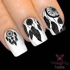 ONYX Black DREAM CATCHER Nail Water Transfer Decal Sticker Art Tattoo Feather