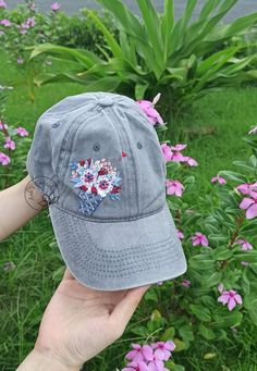 America Ice Cream Hat Hand Embroidered Floral Denim Cap   Etsy Embroidered Caps, Embroidered Flowers, Handmade Headbands, Floral Headbands, Lipstick Photos, Denim Cap, Floral Denim, Cotton Thread, Hand Embroidery