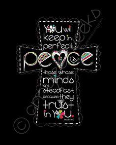 Scripture Art, Keep In Perfect Peace, Christian art print (size- 5x7). $10.00, via Etsy.