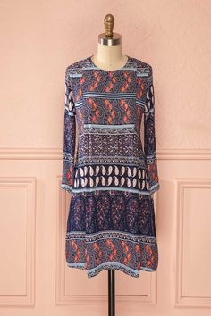 Ady Paisley - Colorful paisley print round neck dress