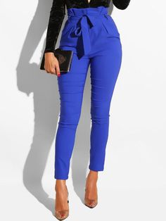 Dark Blue Patchwork Belt High Waisted Fashion Nine's Jeans Pant