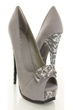 Silver Velvet Sequin Bow Peep Toe Platform Heel Pumps