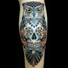 Owl And Skull Tattoo by Jai Liddle