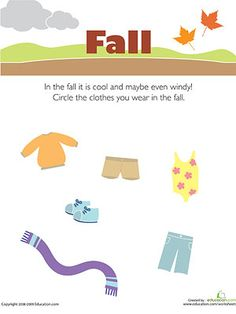 Preschool weather & seasons worksheets and coloring pages help your kid better understand his environment. Check out our preschool weather & seasons printables. Activities For 1st Graders, Fall Preschool Activities, Weather Activities, Preschool Science, Preschool Worksheets, Free Worksheets, Free Preschool, Preschool Learning, Printable Worksheets