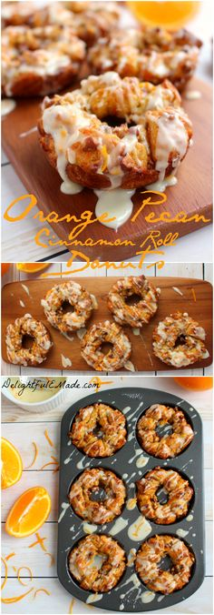 Donuts and cinnamon rolls come together for the most amazing breakfast treat! Orange zest, chopped pecans and a delicious orange glaze top these easy-to-make donuts, perfect for warming up on a cold morning. (food and drink cinnamon rolls) Baked Donut Recipes, Baked Doughnuts, Brunch, Delicious Donuts, Yummy Food, Breakfast Recipes, Dessert Recipes, Desserts, Homemade Donuts