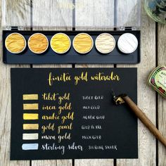 Items similar to Watercolor Pan Set for Calligraphy, 6 Pearl Colors Finetec on Etsy Watercolor Pan Set for Calligraphy 6 Pearl Colors by CocolokoScrap Watercolor Pans, Gold Watercolor, Watercolor Pencils, Watercolors, Watercolor Sunflower, Finetec Watercolor, Calligraphy Drawing, Colored Pencil Techniques, Gold Ink